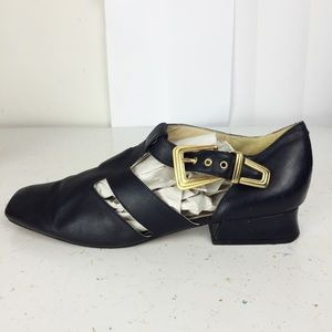 Vintage Italian leather chunky low heel sandals